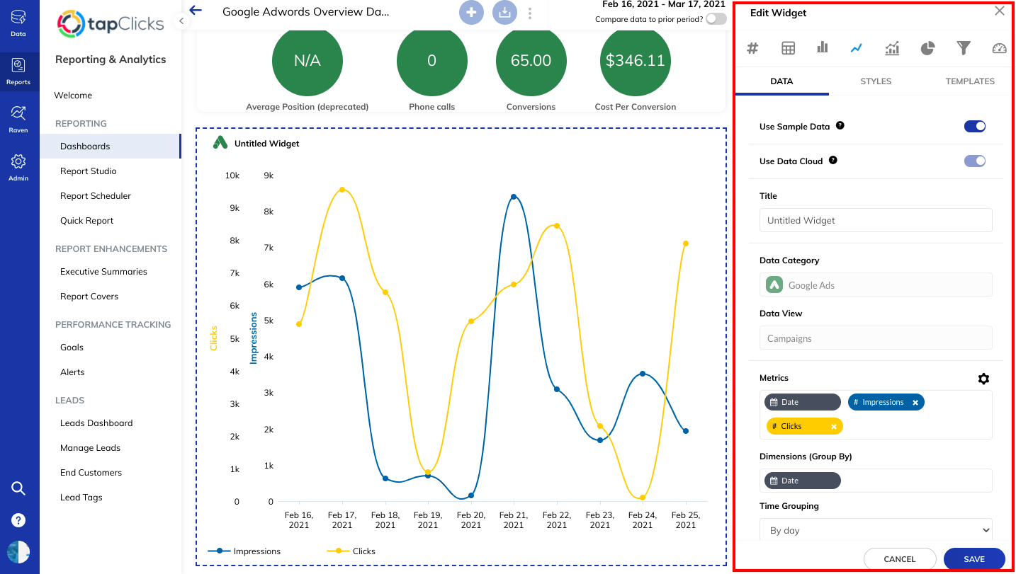 Creating dashboard widgets for Google Adwords Reports for Clients in TapClicks