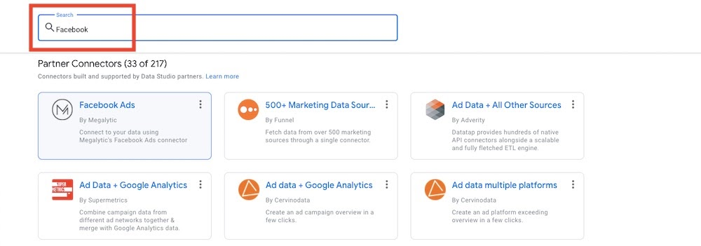Adding a Google Data Studio Connector for Facebook Ads