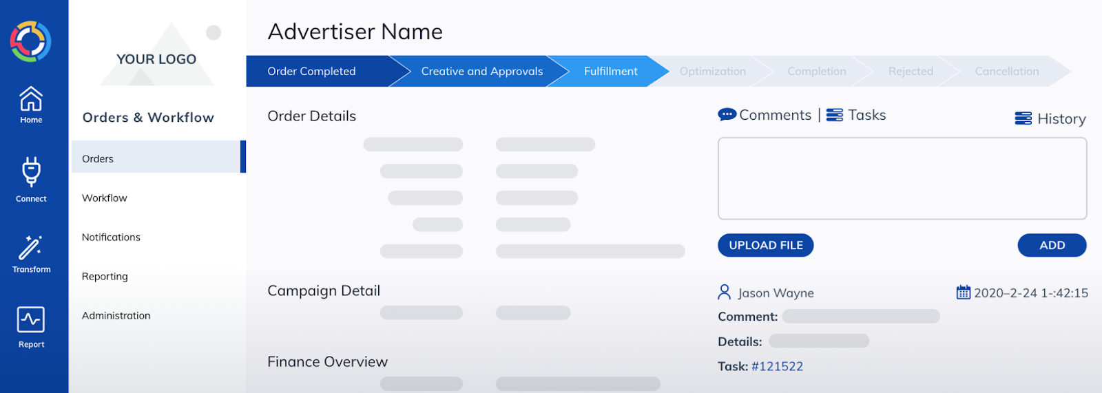 TapClicks enterprise reporting tool includes orders and workflow