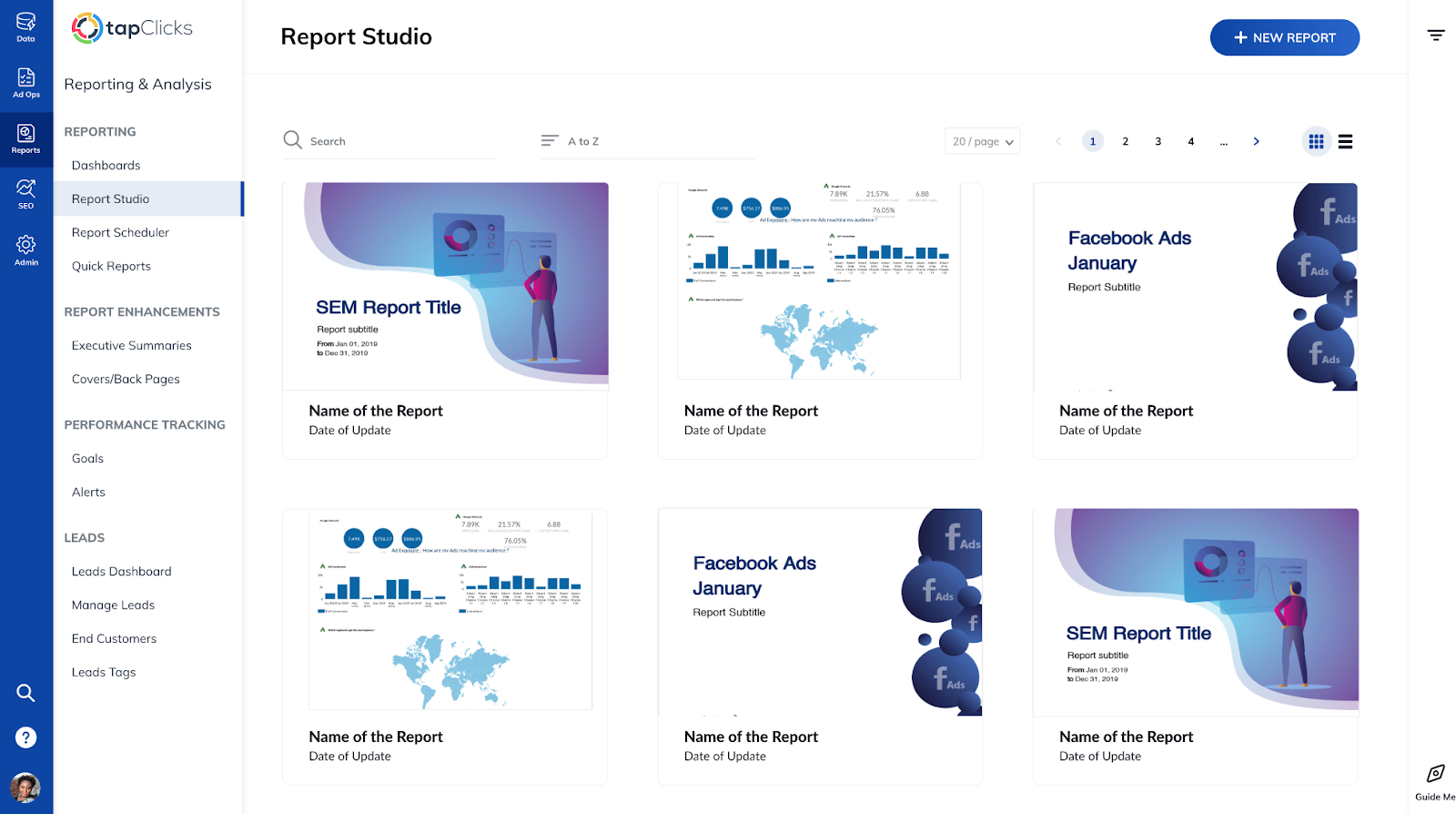 Report studio feature that pairs with TapClicks advertising dashboards
