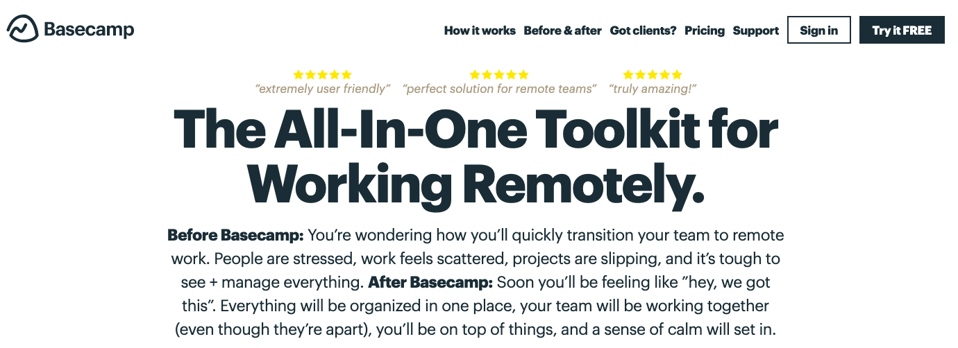 Basecamp: The All-in-One Toolkit for Working Remotely.
