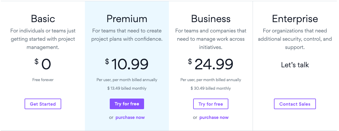 Asana has a free plan, premium plan, business plan, and enterprise plan.