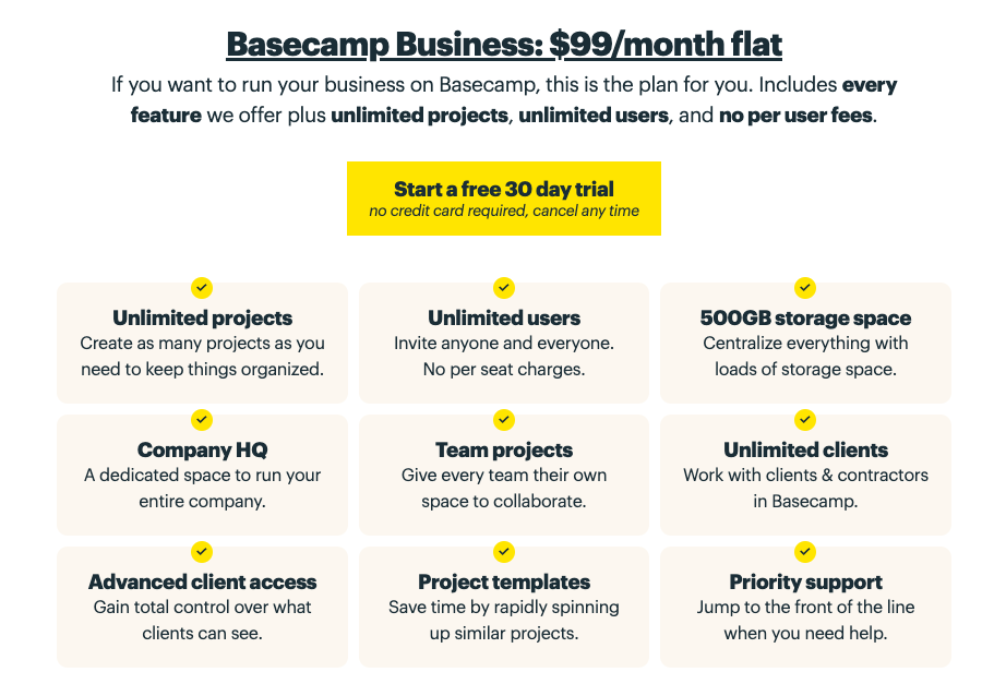 Basecamp Business: $99/month flat