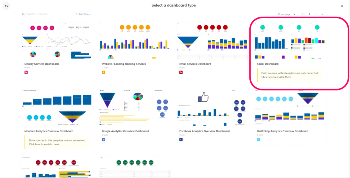 Choosing a dashboard template with TapClicks Google Ads Reporting Tool