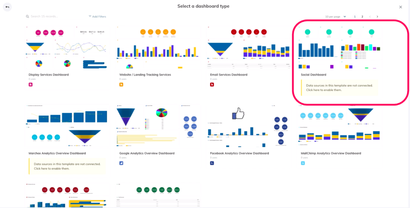 TapClicks Google Ads Dashboard templates: Social Dashboard selected