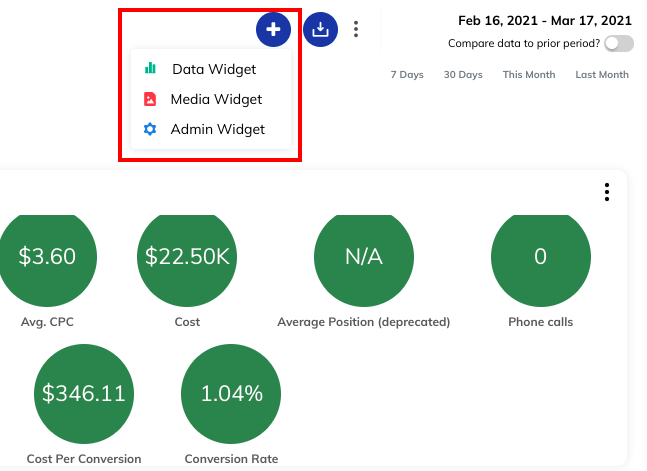 Example of adding a widget in a TapClicks paid search dashboard