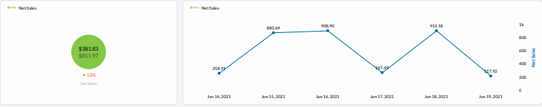 Net Sales overview in TapClicks