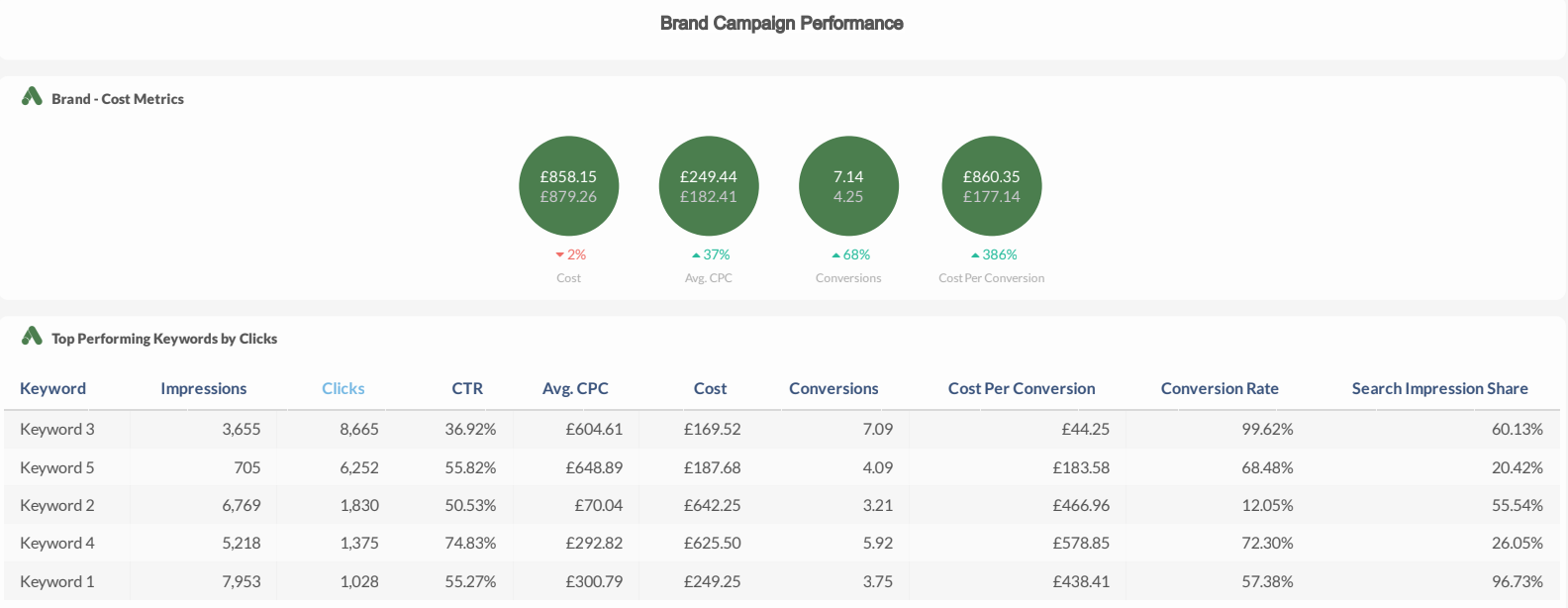 TapClicks Google Ads Dashboard example: Brand Campaign Performance