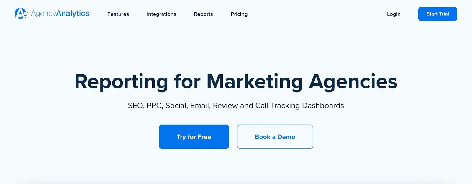 AgencyAnalytics homepage: Reporting for Marketing Agencies