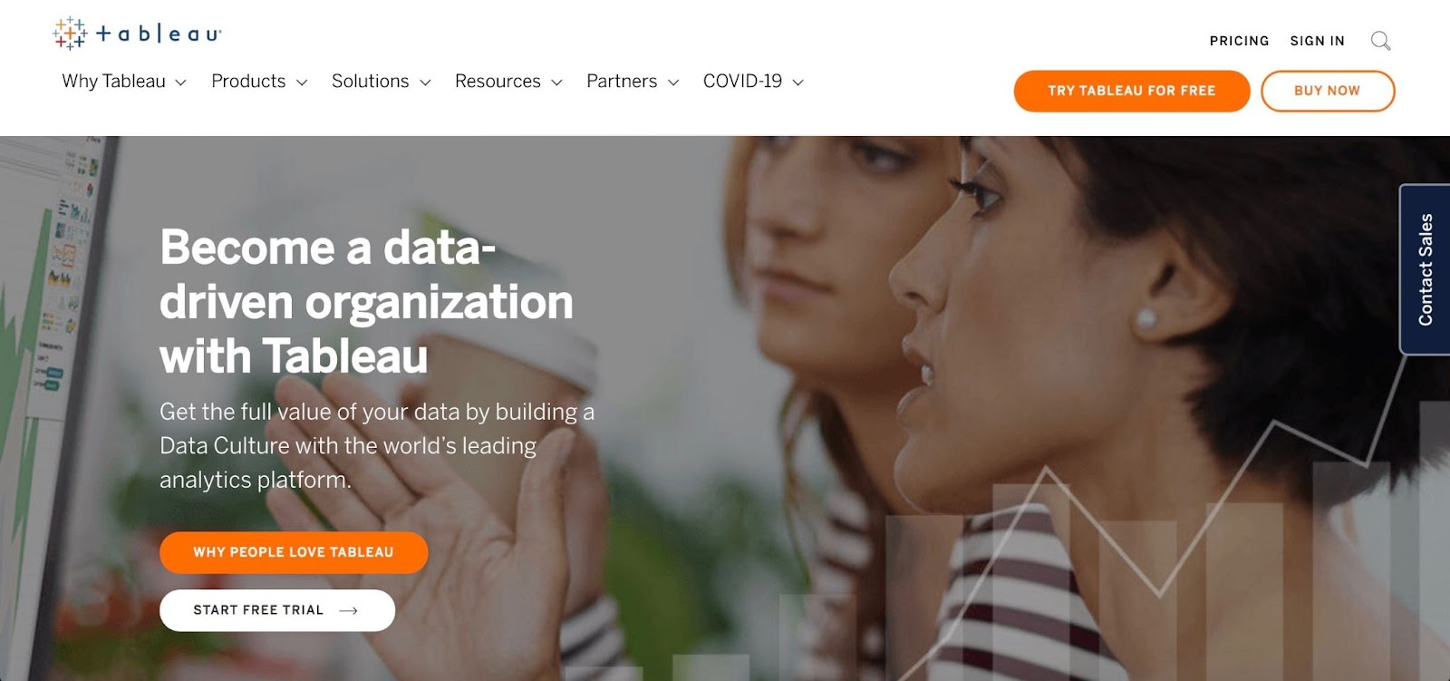 Tableau homepage: Become a data-driven organization.
