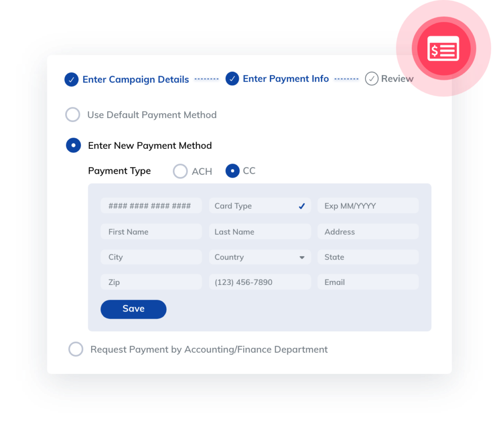 Advertising workflow platform orders feature: Credit Card information
