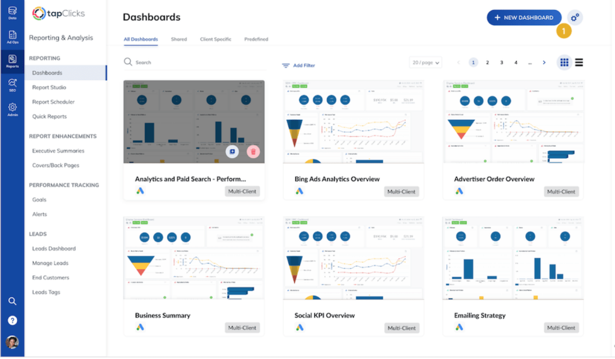 Marketing agency workflow dashboards in TapClicks