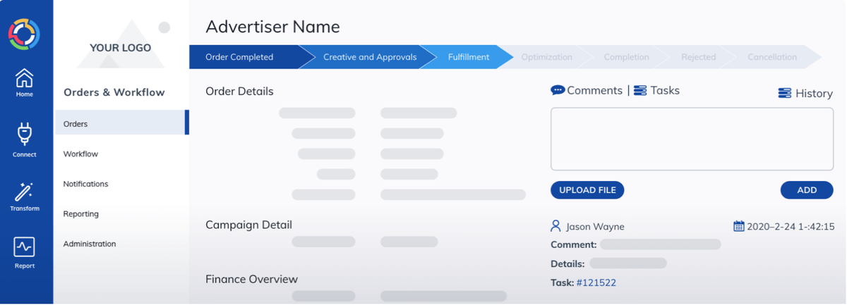 Marketing agency workflow in TapClicks: Advertiser name, Order details, Campaign details, etc.