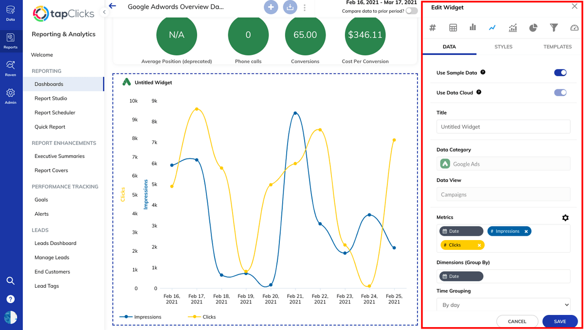 Widget data can be displayed in graphs, tables, bar charts, etc.