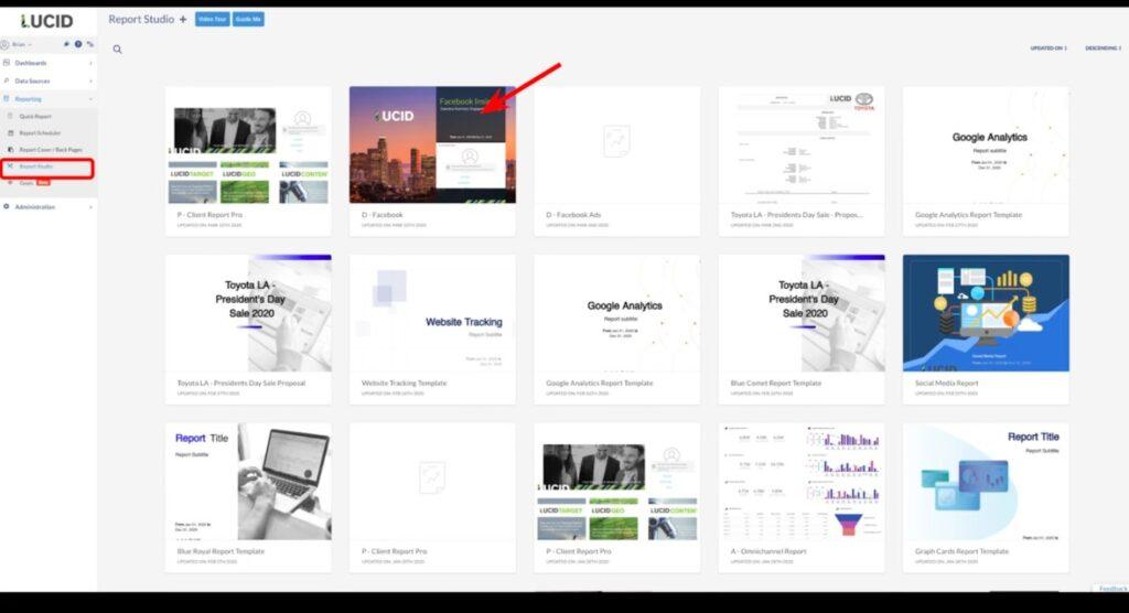 TapClicks Report Studio Template options
