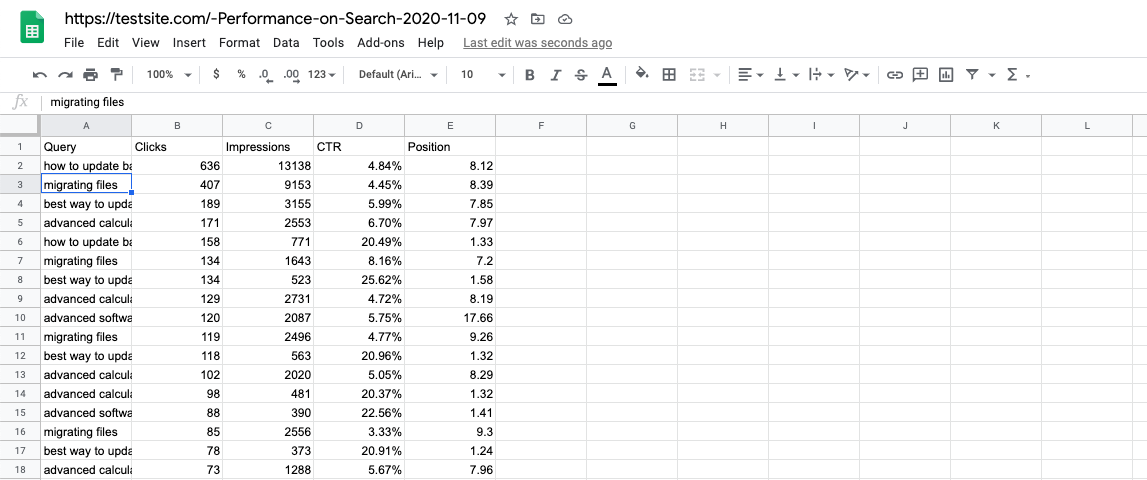 Example of manual SEO reporting (without a software solution)