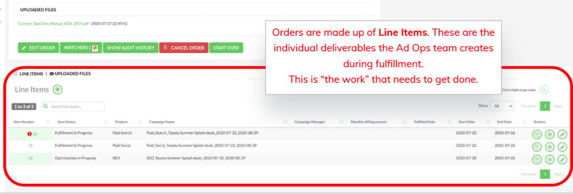 Creating orders with TapClicks marketing agency project management software: Orders are made up of Line Items. These are the individual deliverables the Ad Ops team creates during fulfillment. This is