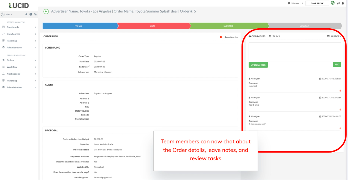 Team collaboration with TapClicks marketing agency project management software: Team members can chat about the Order details, leave notes, and review tasks.