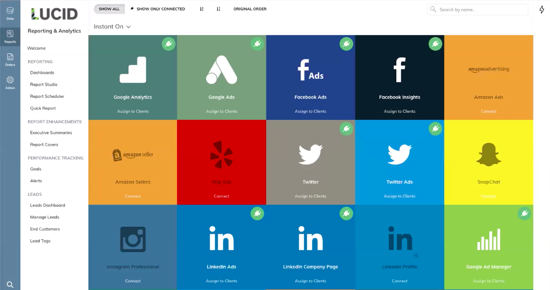 TapClicks' advertising analytics tool — Data Source Options