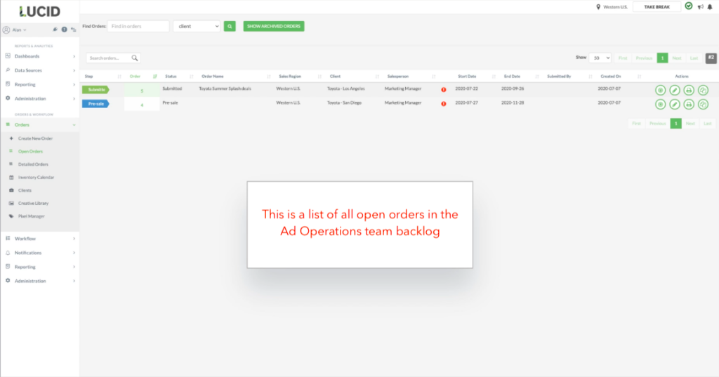 TapClicks Marketing Work Management Platform Feature: This is a list of all open orders in the Ad Operations team backlog