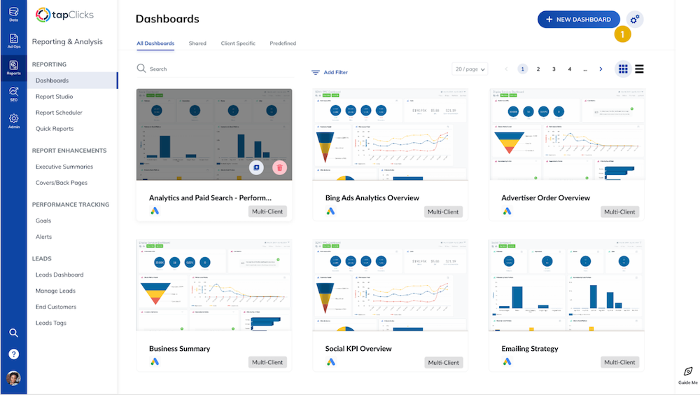 TapClicks paid media dashboard feature example
