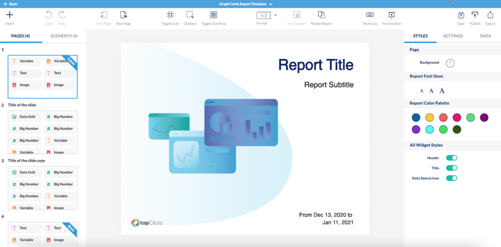 PPC report template by TapClicks is easily customizable for branding, color preferences, and styling.